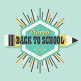 Feliz de nuevo al elemento colorido del diseño del emblema de la explosión del sol de la escuela Fotos de archivo