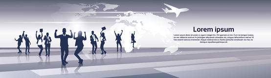 Feliz de Team Silhouette Businesspeople Group Cheerful do negócio aumentado cede o conceito do voo da viagem do mapa do mundo ilustração stock