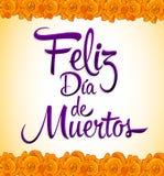 Feliz diâmetro de muertos - o dia feliz do espanhol da morte text Imagem de Stock Royalty Free