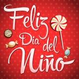 Feliz diâmetro del nino - texto feliz do dia das crianças no espanhol Fotografia de Stock Royalty Free