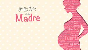 Feliz Dia de Λα Madre - ευτυχής ημέρα μητέρων ` s στην ισπανική γλώσσα - ευχετήρια κάρτα Ρόδινη σκιαγραφία της εγκύου γυναίκας απεικόνιση αποθεμάτων