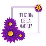 Feliz dia de la Madre, Happy Mother s day in spanish Stock Image