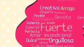 Feliz Dia de la Madre lycklig dag för moder` s i spanskt språk, hälsningkort Rosa kontur av gravida kvinnan lager videofilmer