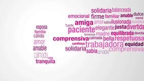Feliz Dia de la Mujer - lycklig dag för kvinna` s i spanskt språk Starta med ett moln av ord i rosa färg- och lilafärger stock video