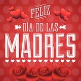 Feliz Dia DE las Madres, de Gelukkige Spaanse tekst van de Moeders Dag stock illustratie