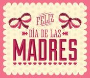 Feliz Dia de Las Madres, glückliches Tagesspanisch der Mutter-s simsen Lizenzfreie Stockfotos
