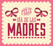 Feliz Dia de las Madres, Happy Mother s Day spanish text. Vintage Illustration vector card