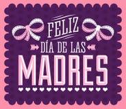 Feliz Dia de las Madres, l'Espagnol heureux du jour de mère textotent Images stock