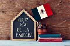 Feliz Dia De Los angeles Bandera, Szczęśliwy Chorągwiany dzień Meksyk Zdjęcie Stock