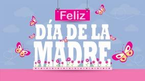 Feliz Dia De Los angeles Madre kartka z pozdrowieniami - Szcz??liwy matka dzie? w Hiszpa?skim j?zyku - Listy na magenta kwiatu og ilustracja wektor