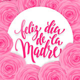 Feliz dia de Madre greeting card. Pink red floral pattern. Stock Photography