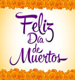 Feliz dia de muertos - ευτυχής ημέρα του ισπανικού κειμένου θανάτου Στοκ εικόνα με δικαίωμα ελεύθερης χρήσης