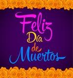 Feliz dia de muertos, Happy day of dead spanish text vector mexican Flowers vector illustration