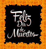 Feliz dia de muertos - Happy day of the death spanish text - Print Flower Royalty Free Stock Photos