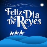 Feliz Dia de Reyes - el día feliz de español de los reyes manda un SMS stock de ilustración