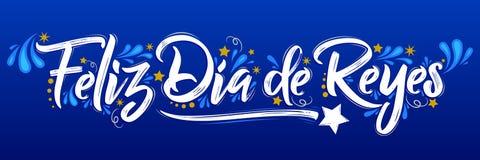 Feliz Dia de Reyes - el día feliz de texto español de los reyes, es una celebración latinoamericana tradicional libre illustration