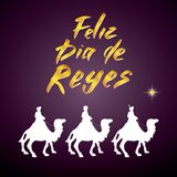 Feliz Dia de Reyes, Happy Day of kings, Calligraphic Lettering. Typographic Greetings Design. Calligraphy Lettering for Holiday Gr. Eeting. Hand Drawn Lettering Royalty Free Stock Image