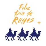 Feliz Dia de Reyes, Happy Day of kings, Calligraphic Lettering. Typographic Greetings Design. Calligraphy Lettering for Holiday Gr stock illustration