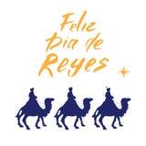 Feliz Dia de Reyes lycklig dag av konungar, Calligraphic bokstäver Typografisk hälsningsdesign Kalligrafibokstäver för ferie Gr stock illustrationer