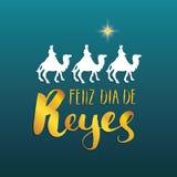 Feliz Dia de Reyes lycklig dag av konungar, Calligraphic bokstäver Typografisk hälsningsdesign Kalligrafibokstäver för ferie Gr vektor illustrationer