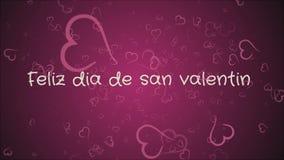 Feliz dia DE San Valentin, de dag van Gelukkig Valentine in Spaanse taal, groetkaart royalty-vrije illustratie
