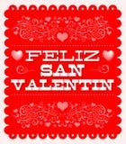 Feliz Dia de San Valentin, de Gelukkige Spaanse tekst van de Valentijnskaartendag vector illustratie