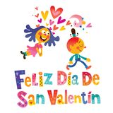 Feliz dia de San Valentin Happy Valentines Day in Spanish Stock Photos