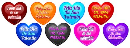 Feliz dia de San Valentin - Happy valentines day in spanish language full set Stock Photography