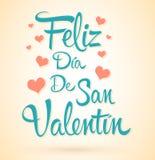 Feliz Dia de San Valentin, texto feliz del español de día de San Valentín, letras del vector y corazones ilustración del vector