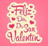 Feliz Dia de San Valentin, texto español feliz de día de San Valentín stock de ilustración