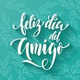 Feliz Dia del Amigo Cartão do dia da amizade no espanhol Fotos de Stock