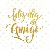 Feliz Dia del Amigo Tarjeta de felicitación del día de la amistad en español Imagen de archivo libre de regalías