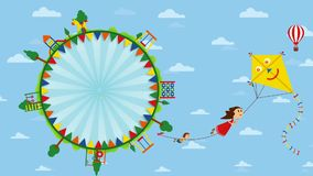 Feliz Dia del Nino greeting card - Happy Children`s Day in Spanish language. Text inside a circle surrounded by playgrounds stock footage