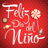 Feliz Dia Del Nino - Szczęśliwy dziecko dnia tekst w hiszpańskim Fotografia Royalty Free