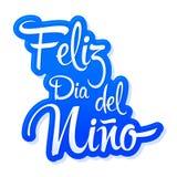 Feliz Dia del Nino, texto español del día feliz de los niños, diseño del vector libre illustration