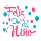 Feliz Dia del Nino, texto español del día feliz de los niños, diseño del vector ilustración del vector
