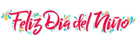 Feliz Dia del Nino, texto español del día feliz de los niños, poniendo letras al ejemplo del vector libre illustration