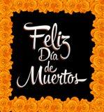 Feliz diameter de muertos - den lyckliga dagen av den spanska texten för död - skriv ut blomman Royaltyfria Foton