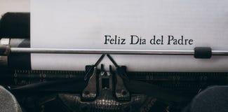 Feliz die dia del padre op papier wordt geschreven stock fotografie