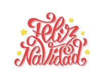 Feliz die navidad van letters voorzien De vrolijke groeten van Kerstmis Stock Foto