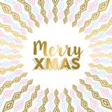 Feliz diseño de la mandala del oro de Navidad en colores claros Fotografía de archivo libre de regalías