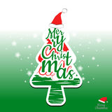 Feliz diseño del árbol de navidad y de la tipografía Fotos de archivo