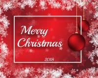 Feliz ejemplo del vector de Cristmas 2018 con Año Nuevo heppy de los bals rojos Imagen de archivo