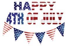 Feliz el 4 de julio con el ejemplo de las banderas Fotografía de archivo libre de regalías