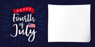 Feliz el 4 de julio, Día de la Independencia de los E.E.U.U., Libro Blanco y cartel de las letras Fotos de archivo libres de regalías