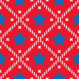Feliz el 4 de julio, fondo del Día de la Independencia de los E.E.U.U. Modelo inconsútil de la bandera del vector, estrella azul  ilustración del vector