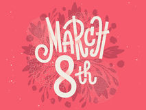 Feliz el 8 de marzo, el día para mujer internacional Imagen de archivo libre de regalías