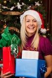 Feliz en el tiempo de la Navidad Fotografía de archivo
