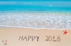 2018 feliz en la arena Fotografía de archivo libre de regalías