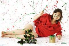 Feliz en pintura de la Navidad Imagenes de archivo